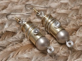 Bullet Earrings-9mm-Platinum Pearl Tip and Wire Wrapped Crystal