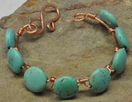 Copper Wire Wrapped Bracelet-Green Magnesite Beads
