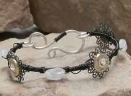 Ammo Bracelet-Black with Crystal and Moonstone