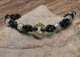 Ammo Black Leather Macramé Bracelet