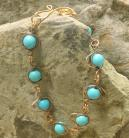 Egg Link Bracelet-Copper and Blue Magnesite Stones