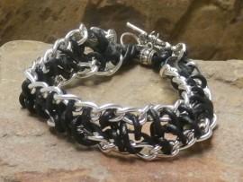 Black Leather Cord Silver Chain Bracelet