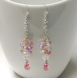 Pink Crystals on the Vine Earrings