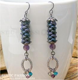 Woven Bead Spiral Earrings-Purple Teal Grey