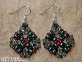 Diamond Shaped Beaded and Crystal Earrings-Dark Green Red and Black