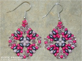 Diamond Shaped Beaded and Crystal Earrings-Fuchsia, Pink, and Eggplant