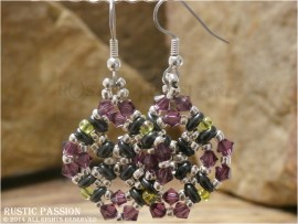 Diamond Shaped Beaded and Crystal Earrings-Amethyst, Lime, Grey, and Silver