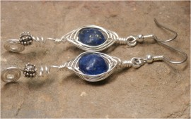 Lapis and Silver Herringbone Wrapped Curly Q Earrings