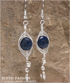 Lapis and Silver Pearl Herringbone Curly Q Wrapped Earrings