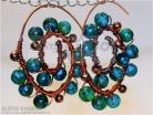 Copper Spiral Earrings-Blue-Green Jasper