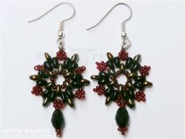 Beaded Snowflake Earrings-Black, Gold & Red