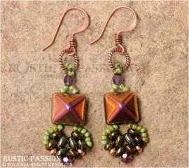 Fanfare Earrings-Copper, Iris Gold, Green, and Purple