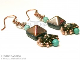 Fanfare Earrings-Turquoise, Iris Antique Gold, and Copper