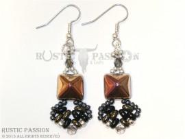 Fanfare Earrings-Black, Gunmetal, Silver, and Iris Gold