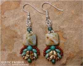 Fanfare Southwestern Earrings-Silver, Turquoise and Brown