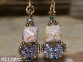 Fanfare Earrings-Light Purple and Gold