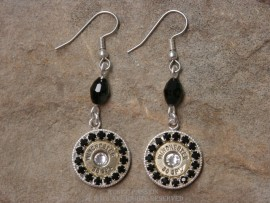 Ammo Earrings-Silver with Black and Clear Crystals