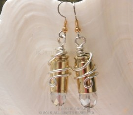 Bullet Earrings-9mm Clear Crystal Tips and Wire Wrapped