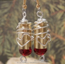 Bullet Earrings-9mm-Red Crystal Tip and Wire Wrapped Heart