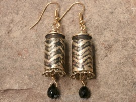 Bullet Earrings-Etched Zigzag Lines with Black Patina