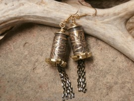 Bullet Earrings-Etched Loopy Swirls, Ruffles and Chains