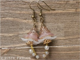 Acrylic Flower Earrings-Frosted Pink and White and Antique Gold