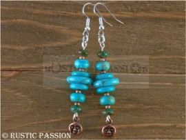 Stacked Turquoise and Moonface Dangle Earrings