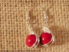 Red Marbled Silver Herringbone Wrapped Earrings