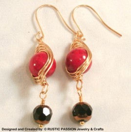 Red Marbled Gold Herringbone Wrapped Earrings with Black Drop
