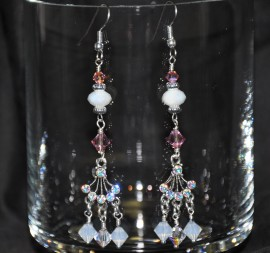 Rose and Opal Crystals Chandalier Earrings