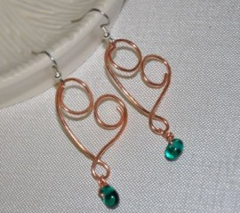 Copper Heart with Teal Bead Earrings