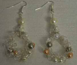 Silver Crocheted Pearly Earrings