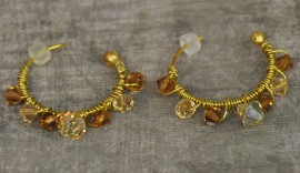 Crystal Wrapped Gold Plated Small Hoop Earrings