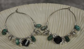Turquoise and Silver Plated Wrapped Hoop Earrings