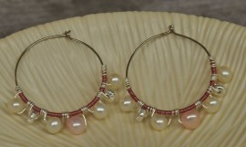 White and Pink Pearl Silver Plated Hoop Earrings