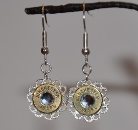 38 Special Brass Earrings with Crystal Center on Filigree