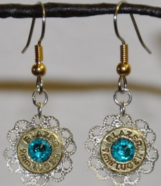 Ammo Earrings-Blue Zircon Swarovski Crystals