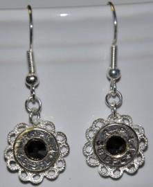 Ammo Earrings-38Spl+P with Hematite Swarovski Crystals