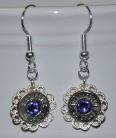 Ammo Earrings-38Spl+P with Tanzanite Swarovski Crystals