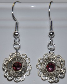 Ammo Earrings-38Spl+P with Antique Pink Swarovski Crystals