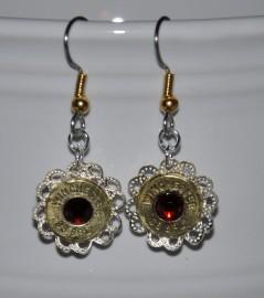 Ammo Earrings-Dark Siam Swarovski Crystals