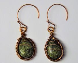 Russian Serpentine Jasper Coiled Copper Earrings