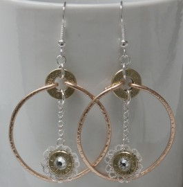 Ammo Earrings-Hammered Hoop with Ammo Crystal Dangle