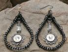 Ammo Earrings Crystal and Moonstone Black Teardrop Hoops