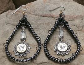 Ammo Earrings Crystal and Moonstone Black Teardrop Hoops