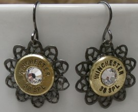 Ammo Earrings-Crystal and Gunmetal Filigree Drops