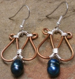 Copper and Teal Pearl Earrings with Silver Wrap