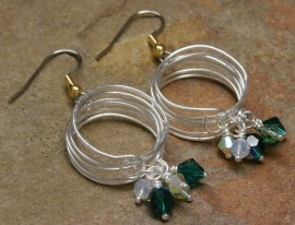 Silver Coiled Earrings-Emerald Crystals in Motion