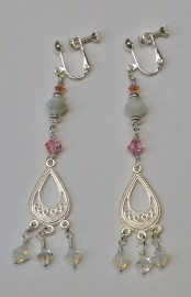 Rose and Opal Crystals Clip On Earrings