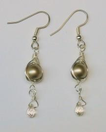 Platinum Pearl (8mm) Herringbone Wrapped Earrings with Crystal Drop